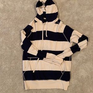 J. Crew Navy and Cream Striped Hoodie